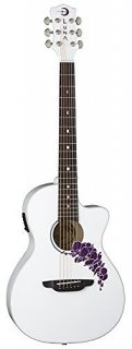 Luna FLO OR CWH Flora Orchid Acoustic/Electric Guitar, Classic White ギター