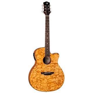 Luna Gypsy Quilt Ash Gloss Natural Acoustic-Electric Guitar w/ Preamp ギター
