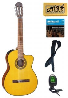 Takamine G Series GC1CE-NAT Acoustic-Electric Classical Cutaway Guitar, Natural Bundle ギター