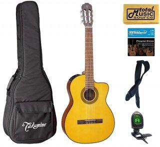 Takamine G Series GC1CE-NAT Acoustic-Electric Classical Cutaway Guitar, Natural Bag Bundle ギター