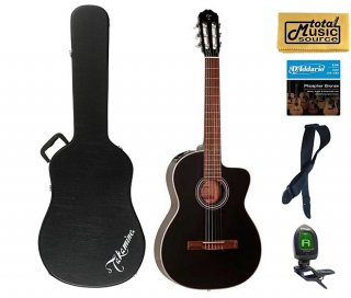 Takamine G Series GC1CE-BLK Acoustic-Electric Classical Guitar, Black Case Bundle ギター