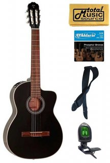 Takamine G Series GC1CE-BLK Acoustic-Electric Classical Guitar, Black Bundle ギター