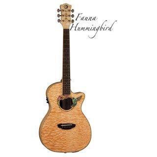 Luna Fauna Hummingbird Cutaway Quilted Top Acoustic-Electric Guitar, Rosewood Fretboard, Natural ギター