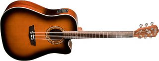 Washburn WD7SCEATB Electric Acoustic Guitar Tobacco Burst Solid Sitka Spruce ギター