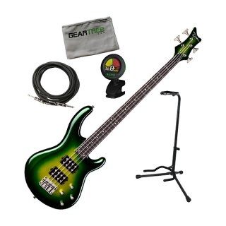 Dean Edge 3 Green Burst Electric Bass Guitar Bundle ギター