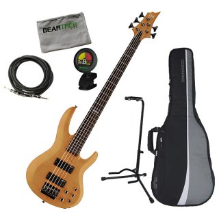 ESP LTD B-155DX HN Honey Natural 5-String Bass Guitar Bundle ギター