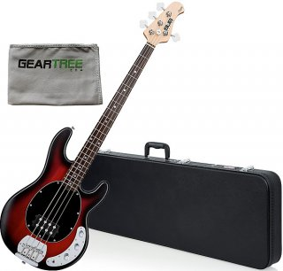 Sterling Ray4 RRBS 4-String Electric Bass Guitar Bundle Ruby Red Burst Satin ギター
