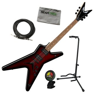 Dean MLX FM TRD MLX Flame Top Trans Red Electric Guitar w/Stand, Cloth, Tuner, Cable ギター