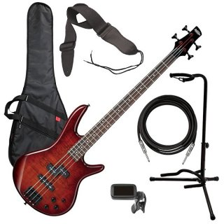 Ibanez GSR200SM 4-String Bass Guitar - Brown Burst BASS ESSENTIALS BUNDLE ギター