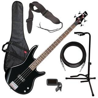 Ibanez GSR100EX 4-String Bass Guitar - Black BASS ESSENTIALS BUNDLE ギター