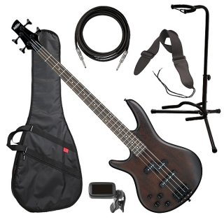 Ibanez GSR200BL Left-Handed Bass Guitar - Walnut Flat BASS ESSENTIALS BUNDLE ギター
