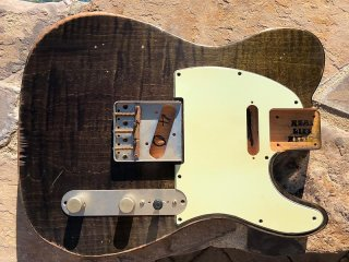 Real Life Relics Tele Telecaster Body Aged Flame Maple Slab Top Trans Olive Green Nitro Lacquer 送料無料