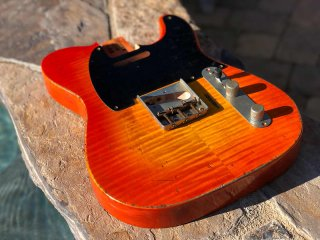 Real Life Relics Tele Telecaster Body Aged Flame Maple Slab Top Sunsetburst Nitro Lacquer 送料無料