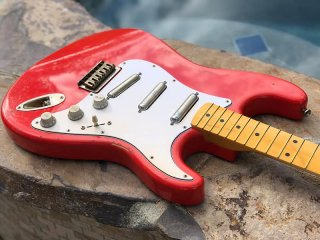 Real Life Relics Loaded Strat Stratocaster Body Aged Fiesta Red Hardtail W Lipstick Pickups 送料無料