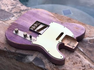 Real Life Relics Tele Telecaster Body Aged Faded Purple Denim Nitro Lacquer Finish Swamp Ash 送料無料