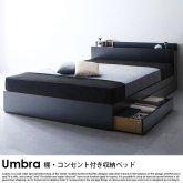 棚・コンセント付き収納ベッド Umbra【アンブラ】プレミアムボンネルコイルマットレス付 ダブル
