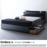 棚・コンセント付き収納ベッド Umbra【アンブラ】スタンダードボンネルコイルマットレス付 ダブル