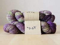 【Lichen and Lace】<br>1ply Superwash Merino Fingering<br>baby eggplant