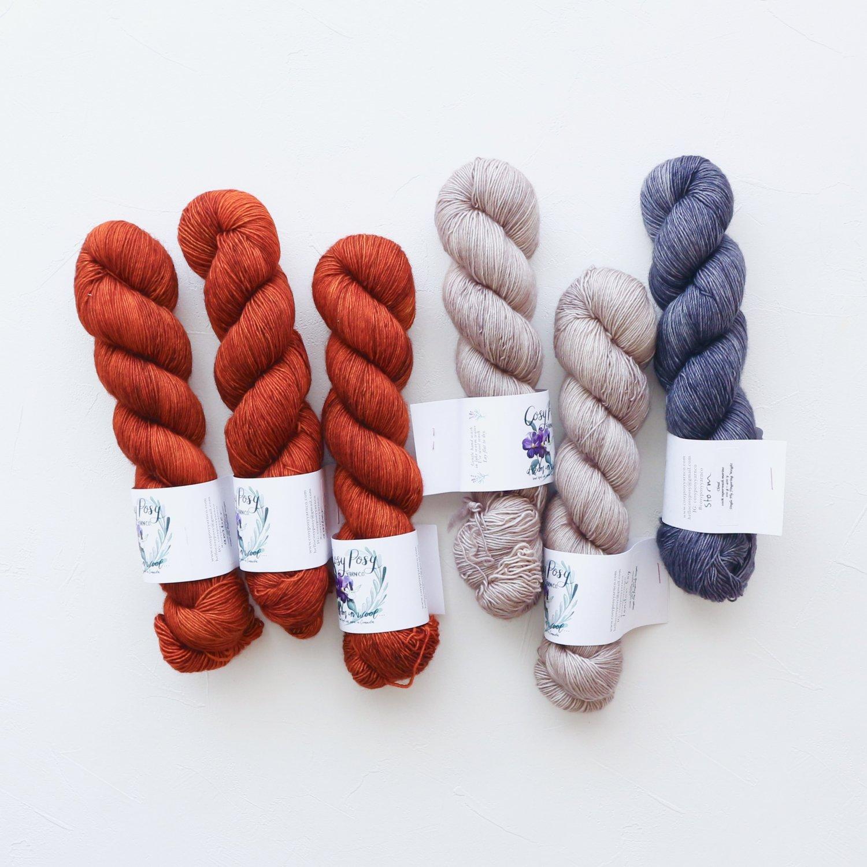 【「Ember Sweater」色合わせセット】<br>Cosy Posy Yarn CLOUD<br>Bセット(長袖 L/XLサイズ)