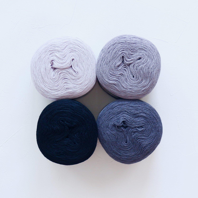 【Jolly knits】<br>Gradient Yarn Merino 3PLY(500m × 4色)<br>【モノクロA】