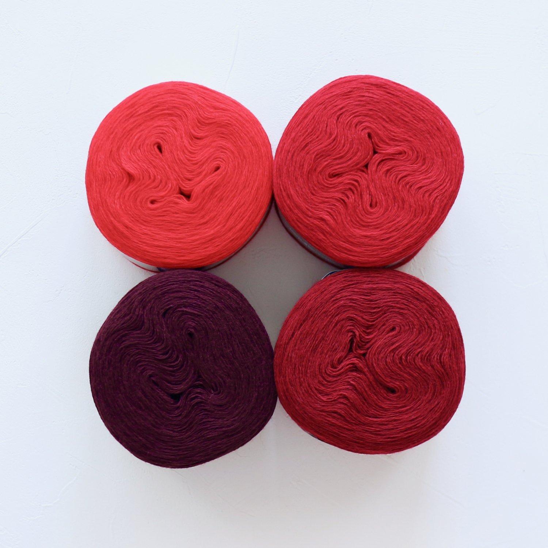【Jolly knits】<br>Gradient Yarn Merino 3PLY(500m × 4色)<br>【レッド】