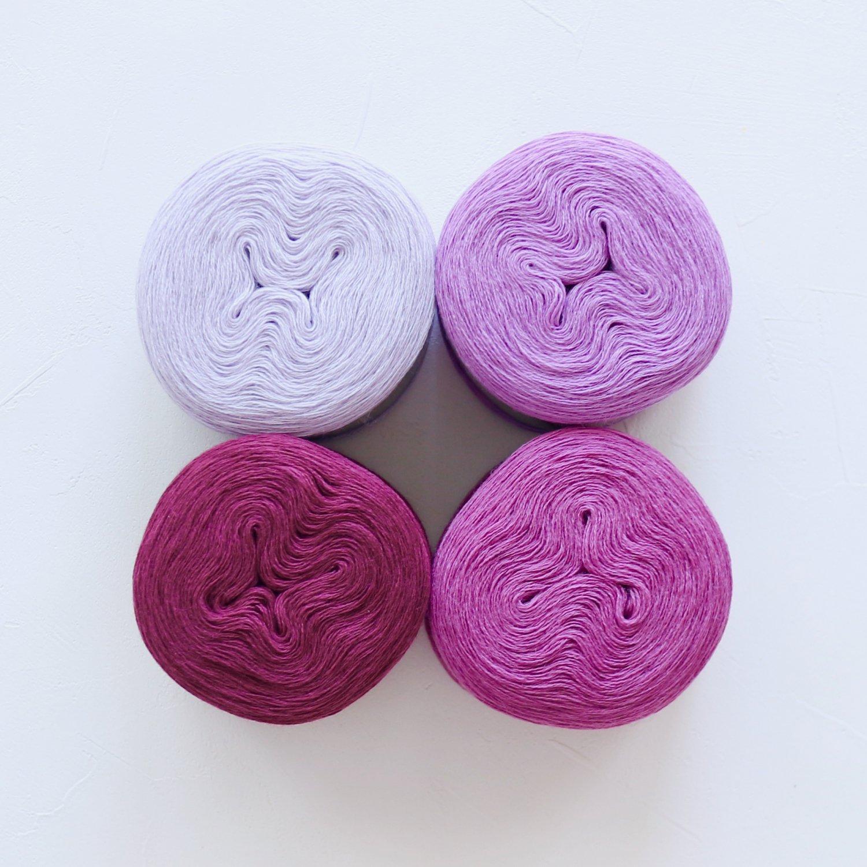 【Jolly knits】<br>Gradient Yarn Merino 3PLY(500m × 4色)<br>【パープルA】