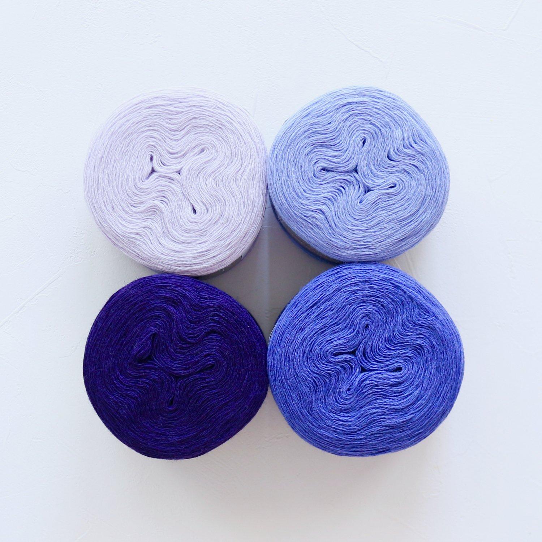 【Jolly knits】<br>Gradient Yarn Merino 3PLY(500m × 4色)<br>【パープルB】