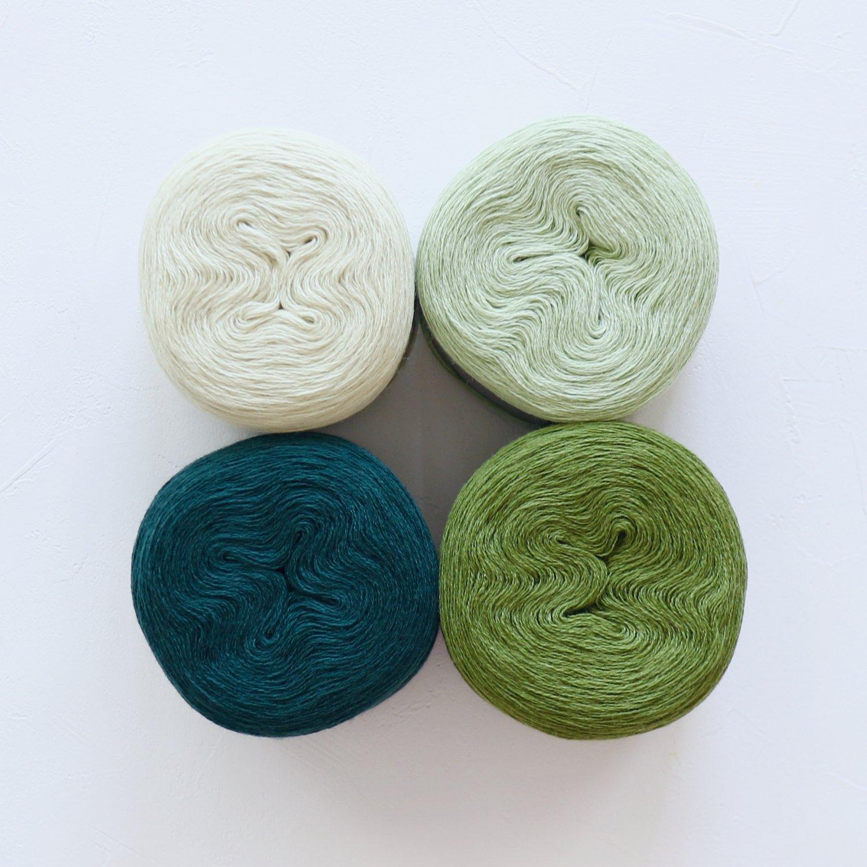 【Jolly knits】<br>Gradient Yarn Merino 3PLY(500m × 4色)<br>【グリーンC】