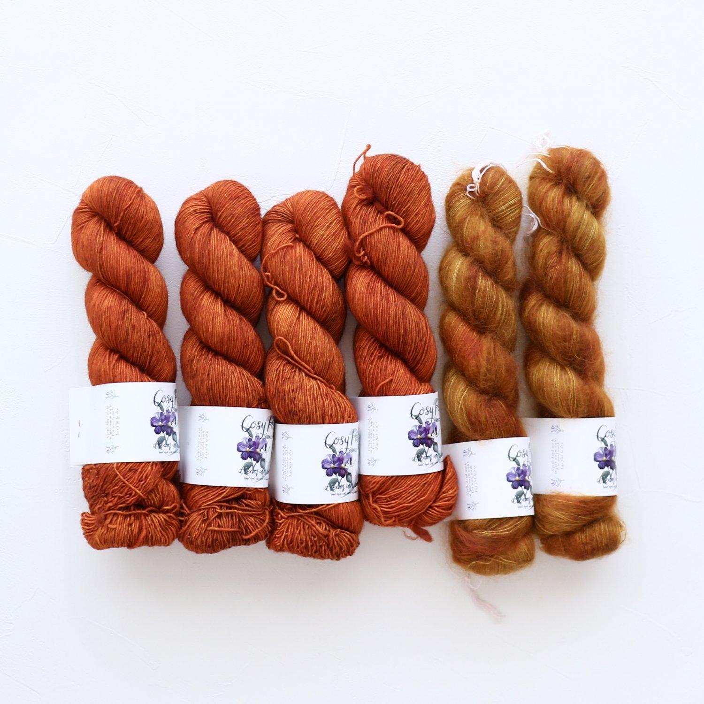 【「Nuvola」色合わせセット】<br>Cosy Posy Yarn<br>Orange Dusk Eセット(Mサイズ)