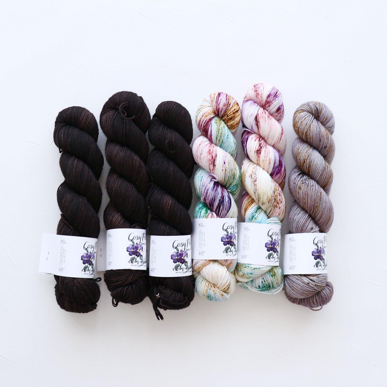 【「Ember Sweater」色合わせセット】<br>Cosy Posy Yarn SOFT & COSY<br>Fセット(長袖 L/XLサイズ)