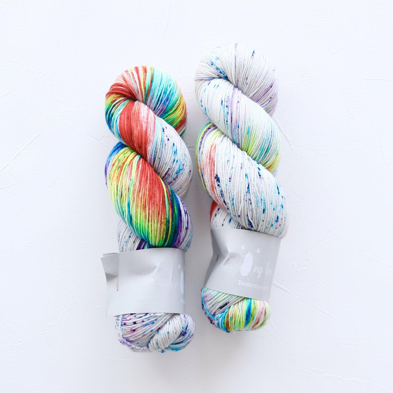 【Qing Fibre】<br>Merino Fingering<br>Mardi Gras