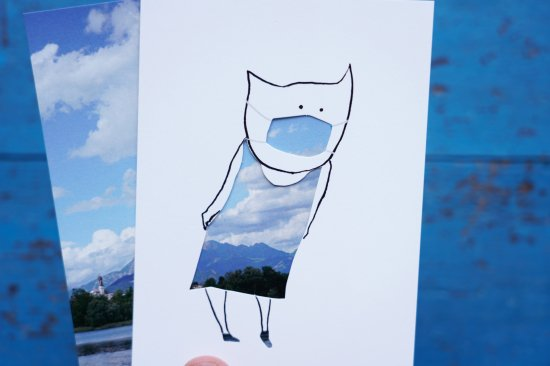 【アートカードセット】マスク+イタリアの景色「空と山と湖」 作:工藤あゆみ