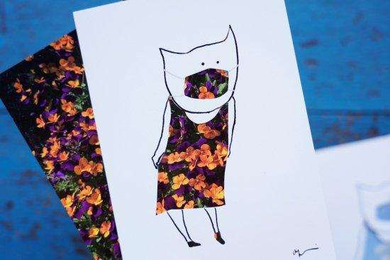 【アートカードセット】マスク+イタリアの景色「お花」 作:工藤あゆみ