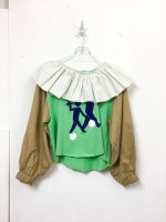 yes!yes!非非 frill tops /apple green×camel