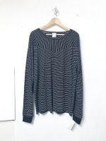 AWA switching long T-shirt /black stripe