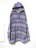 Geometric pattern fleece hooded coat