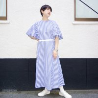 QFD 2019ss Striped cotton one piece / blue<img class='new_mark_img2' src='//img.shop-pro.jp/img/new/icons10.gif' style='border:none;display:inline;margin:0px;padding:0px;width:auto;' />