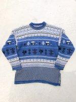Native design cotton knit / blue