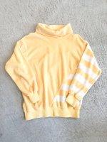USA high neck tops border / lemon yellow