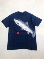 1990s FISH print T-shirt / navy