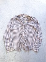 Gingham check pattern see-through blouse / brown