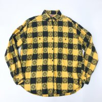 Indian cotton plaid shirt / yellow×black