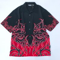 Flame pattern s/s open collar shirt