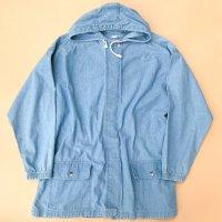Light denim hooded coat