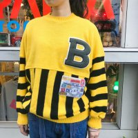 1980s ''B'' border knit / Yellow