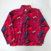 Camouflage pattern half-zip fleece / Red