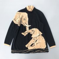 Elephant parent and child pattern knit