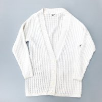 USA cotton cable knit cardigan / White