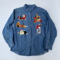 Merry Christmas denim shirt / Blue