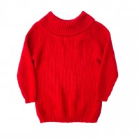Off turtleneck knit / Red